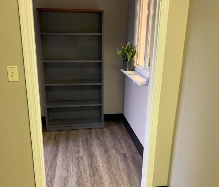 Office room with office window, taupe walls, new floor, grey shelving, and office plant.